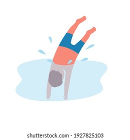 Man dives. Naked guy in swimming trunks. Blue water and spray. Flat cartoon illustration. Swimming and recreation