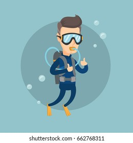 Man diving with scuba and showing ok sign. Adult caucasian man in diving suit snorkeling and giving thumb up. Man enjoying the dive. Vector flat design illustration. Square layout.