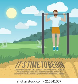 Man do workout on pull-up bar outdoor fitness lifestyle time to begin poster vector illustration