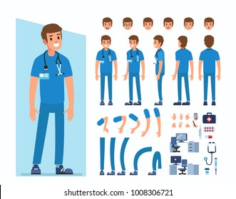 Man doctor character constructor and objects for animation scene. Set of various men's poses, faces, mouth, hands, legs. Flat style vector illustration isolated on white background.
