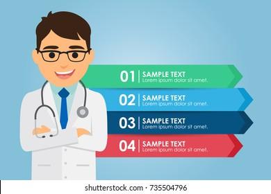 Hombre doctor de pie con una infografía. Concepto médico. Ilustración del vector