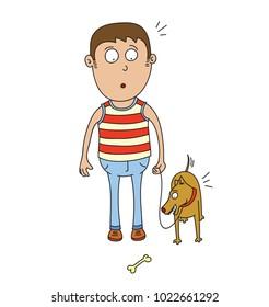 man and dog find a bone
