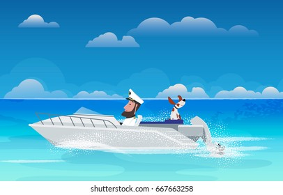 Man and dog on walk on a boat on the sea. Vector
