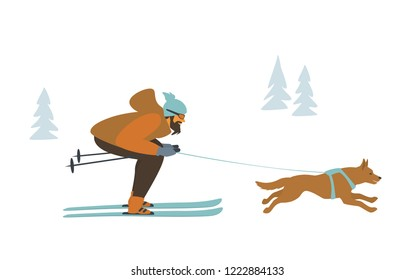 man and dog skijoring, winter sports isolated vector illustration scene graphic