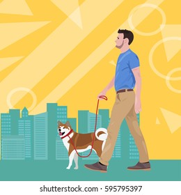 Man with dog vector illustration with city silhouette and modern design