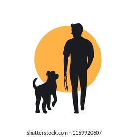 man and dog walking back view silhouette