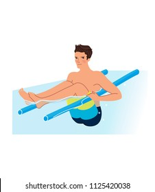 Man doing aqua exercise with noodle. Summer sea water workout. Vector illustration.