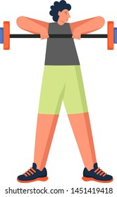Man doing barbell arm exercises, vector flat illustration isolated on white background. Weightlifting, strength training workout, weight exercise, sport and healthy lifestyle.