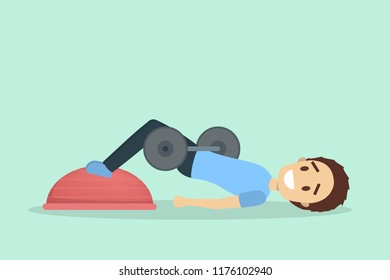Man doing butt workout with dumbbell and bosu. Body and health strength. Training in the gym. Flat vector illustration