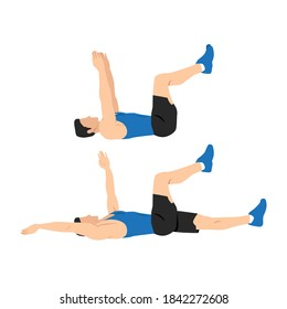 Man doing dead bug exercise. Abdominals exercise. Flat vector illustration isolated on white background.Editable file with layers