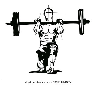 man is doing an exercise with a barbell