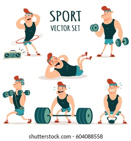 Man doing fitness exercises with dumbbells, barbell, weight and hula hoop. Cute guy cartoon vector character set isolated on a white background. Healthy lifestyle and sport illustration.