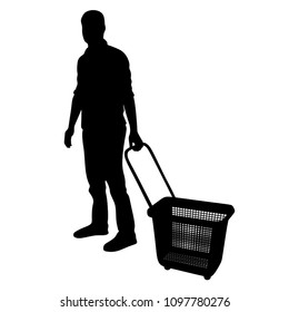Man doing grocery shopping with shopping basket at supermarket, vector silhouette isolated on white. Male usual walk after work buy food and another goods in market.