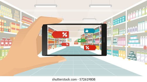 Man doing grocery shopping at the supermarket, he is viewing offers and augmented reality contents on his smartphone, store aisle and shelves on the background, subjective point of view