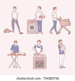 A man doing housework hand drawn illustrations. vector doodle design