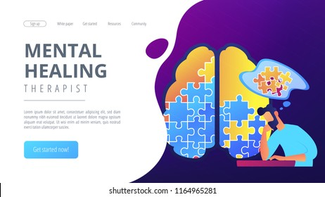 Man doing human brain puzzle. Mental healing therapist landing page. Psychology and psychotherapy, therapist counselling and mental difficulties. Vector illustration on ultraviolet background.