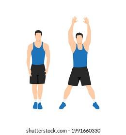 Man doing Jumping jacks. star jumps exercise. Flat vector illustration isolated on white background