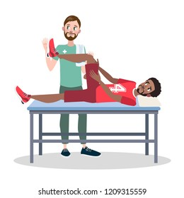 Man doing leg massage to male runner or footbll player in red shorts in massage room. Sport and healthy lifestyle. Isolated flat vector illustration