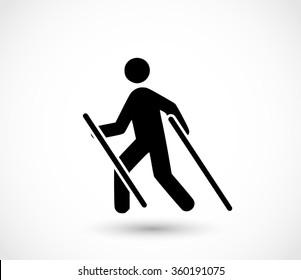 Man doing nordic walking icon vector