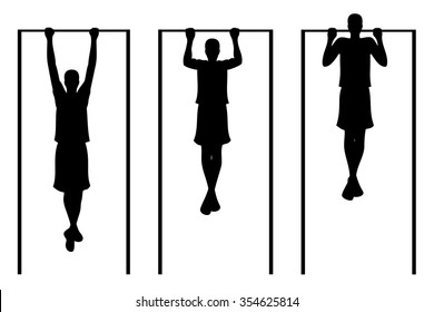 Man doing pull ups. Vector illustration. White background.