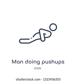 man doing pushups icon from sports outline collection. Thin line man doing pushups icon isolated on white background.
