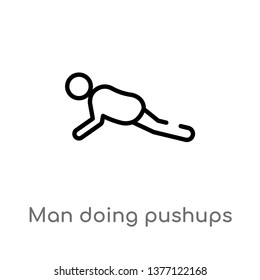 man doing pushups vector line icon. Simple element illustration. man doing pushups outline icon from sports concept. Can be used for web and mobile