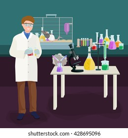 Man doing reaction in science laboratory, chemistry equipment  lab research concept, chemical tube and medicine liquid glass in medical experiment. Scientific, pharmacy technology test flask