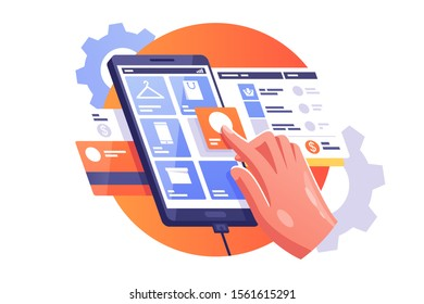 Man doing shopping vector illustration. Male hand choosing goods on tablet via internet app in e-shop flat style design. Guy putting button of selected product category. E-purchasing concept