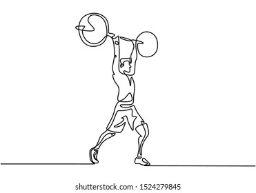 Man doing squats with barbell continuous one line drawing vector illustration. Gym theme of workout simplicity style design.