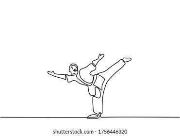 Man is doing Taekwondo training continuous single line drawing vector illustration. Pofessional senior male standing with one leg while arms stretched out to train body balance minimalist style