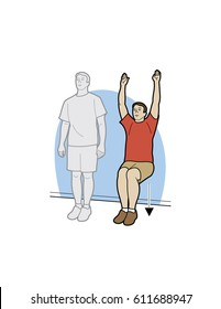 Man doing a wall sit exercise