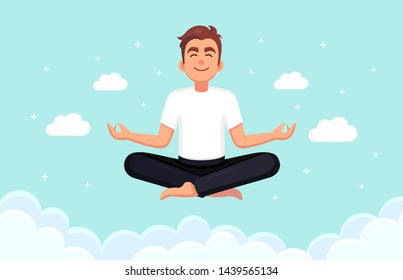 Man doing yoga in sky with clouds. Yogi sitting in padmasana lotus pose, meditating, relaxing, calm down and manage stress. Vector cartoon design