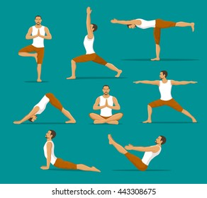 Man Doing Yoga workout.  Asanas set. Tree, Warrior one, two, three,  Boat, Lotus Meditation, Downwards Facing Dog , Upwards Facing Dog Poses