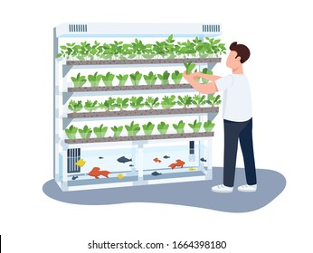 Man and domestic greenhouse, gardener flat color vector faceless character. Plants and fishes care, greenery growing isolated cartoon illustration for web graphic design and animation