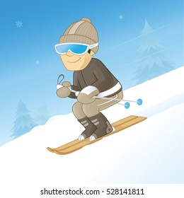 Man downhill skiing on a clear mountain snowy day vector