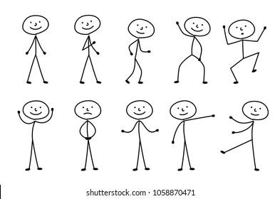 man drawn, different poses, sticks figure people pictogram