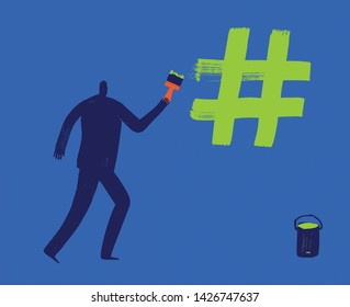 Man draws hash tag with green paint using brush, creating hash tags, more likes, social media concept, digital marketing, making hashtag, Influencer, Marketing, Tagging, Email, Posting, Millennial
