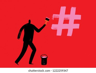 Man draws hash tag with pink paint using brush, Paint, Marketing with Hashtags, Vector Illustration, creating hash tags, more likes, social media concept, digital marketing, making hashtag, Influencer