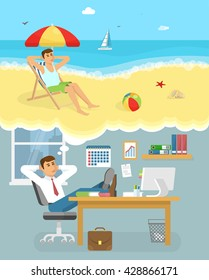 Man dreaming about holiday composition office worker thinking about vacation on the beach vector illustration