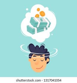Man dreams of money. Flat design vector illustration.