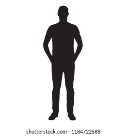 Man dressed in jeans and shirt standing with hands in pockets, front view isolated vector silhouette