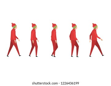 Man dressed like Santa's red is illustration and animation. side view. background white.