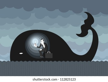 Man dressed on a business man style inside a whale like Jonah, lighting himself with a lighter. Hoping and waiting for better times.