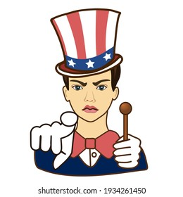 a man dressed as Uncle Sema pointing finger at you, usa mascot wants you for US army, american government or president personification in striped tophat with stars, colored emoticon