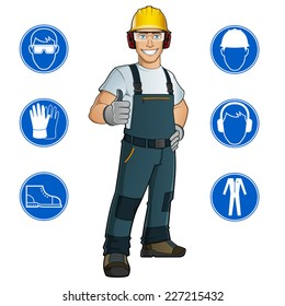 Man dressed in work clothes, and safety at work signs