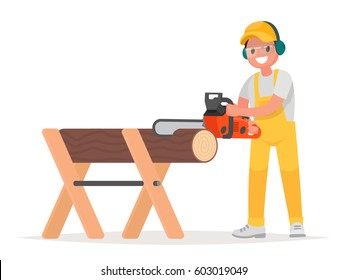 Man dressed in working clothes is sawing a tree with a chainsaw. Work of the woodcutter. Vector illustration in a flat style