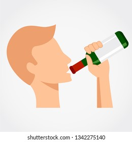 Man drinking alcohol from the bottle. Simlpe flat design vector illustration.