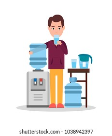 Man drinking water, standing by cooler and containers with liquid, good habits and right lifestyle, bottle and glass, isolated on vector illustration