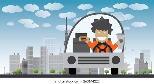 Man drive and eat in a car Vector illustration. Safety concept