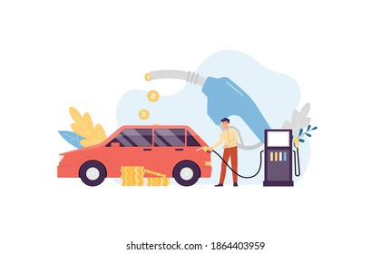 Man driver refueling a car at gas station with fuel gun dropping out money, flat vector illustration isolated on white background. Fuel economy and money savings.